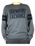ARMANI EXCHANGE maglia uomo grigio scritta blu 3zzm1t
