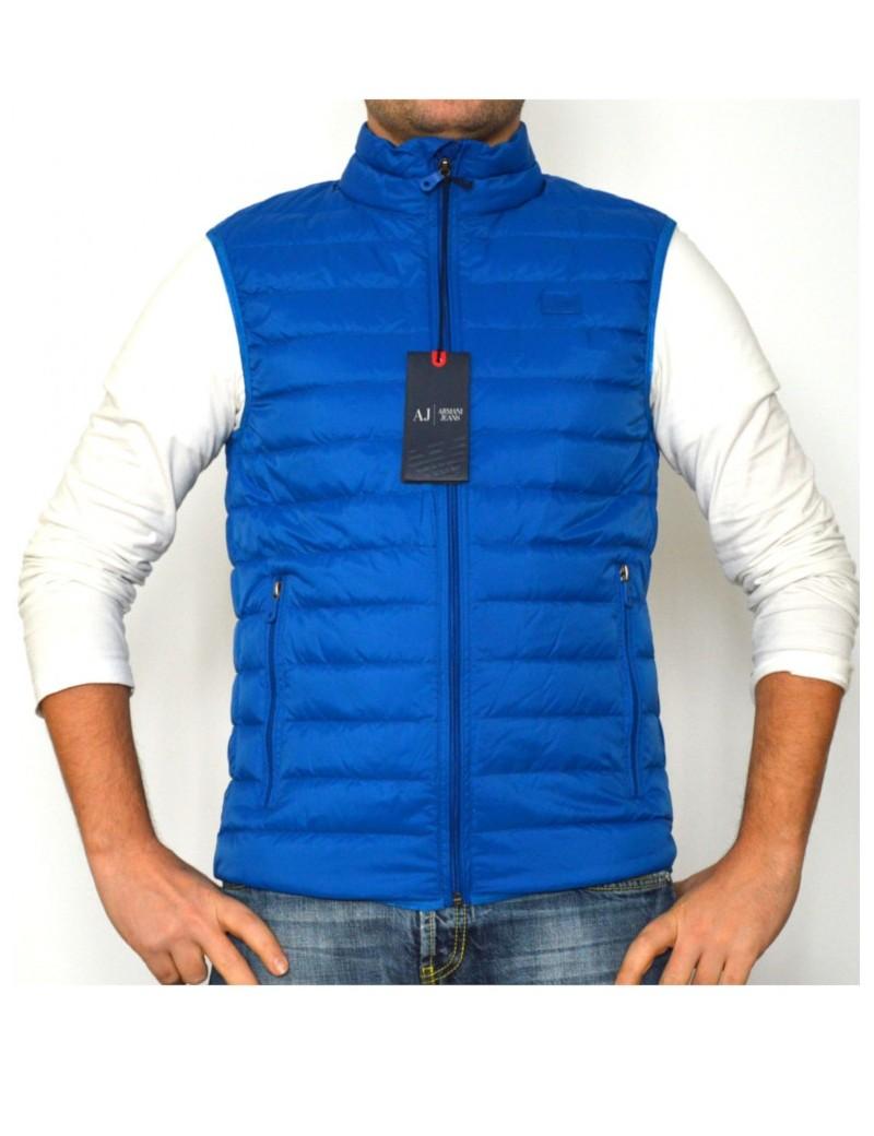 wholesale dealer 5c6b3 9b4af ARMANI JEANS gilet uomo piuma d'oca 100 grammi azzurro