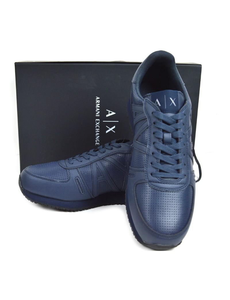 Blu Calzature Exchange Uomo Pelle Sportive In Armani Lacci Sneakers Da DWEHIY29