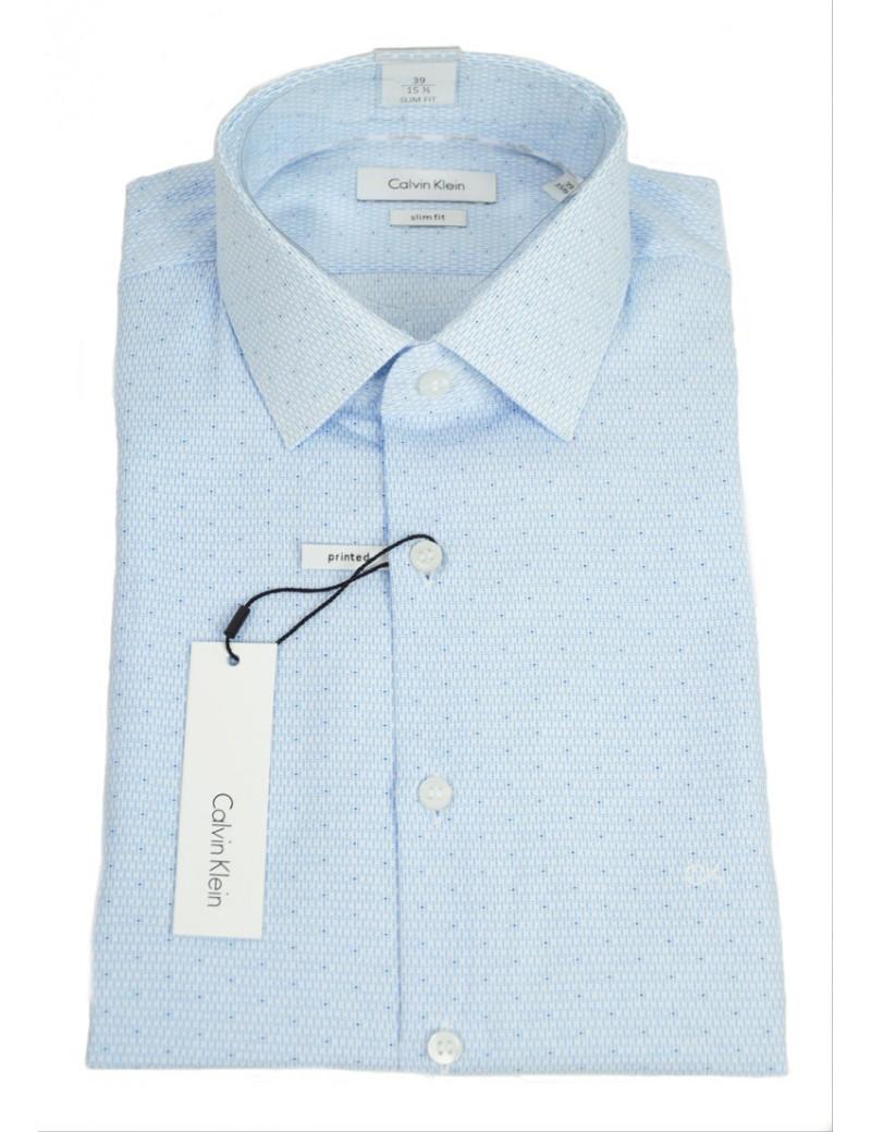 wholesale dealer 4301a 94268 CALVIN KLEIN camicia uomo chiara celeste fantasia collo italiano slim fit