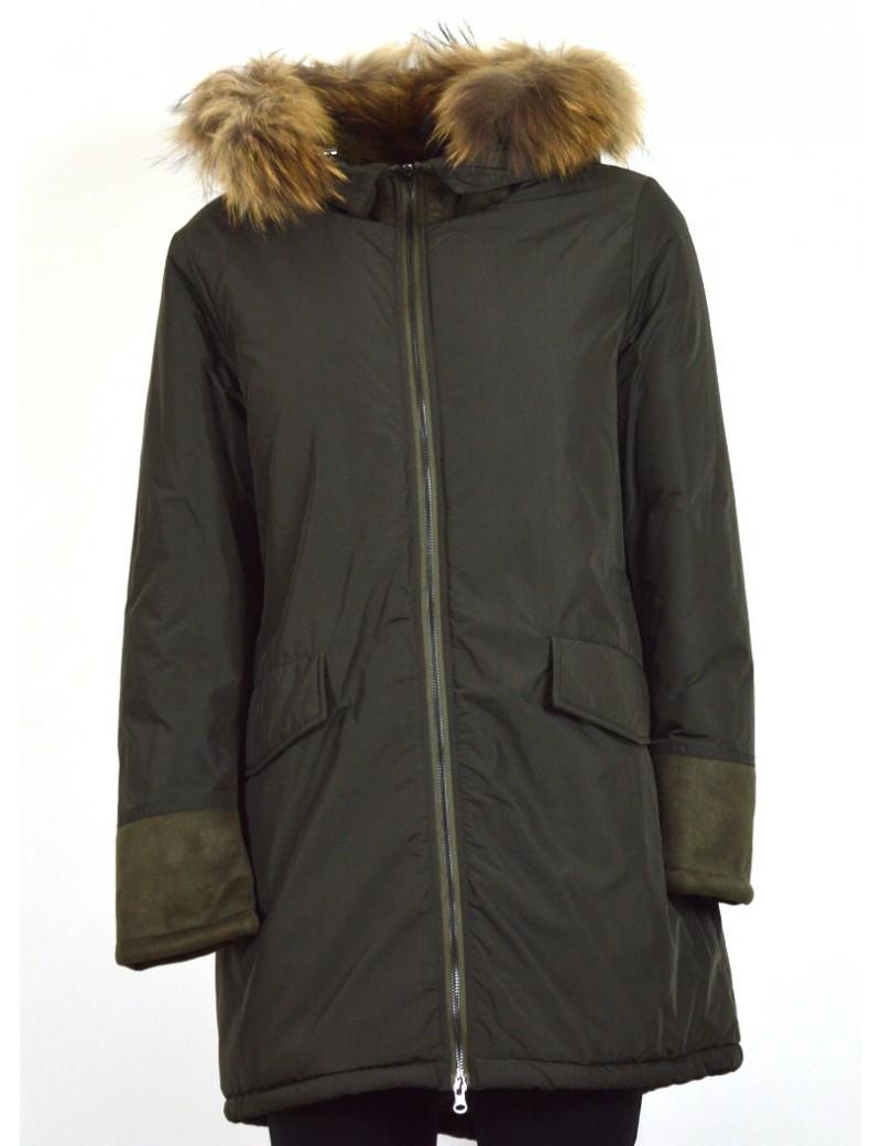 save off a776e 2ff7b READ OUT parka donna verdone stile eskimo con pelliccia staccabile 9412