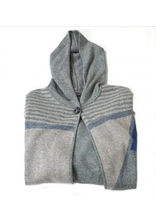 maglia donna elena mirò taglie comode poncho mantella invernale cashmere e lana colore grigio rosa e blu