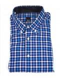 TIBER camicia uomo manica lunga blu scacchi piccoli
