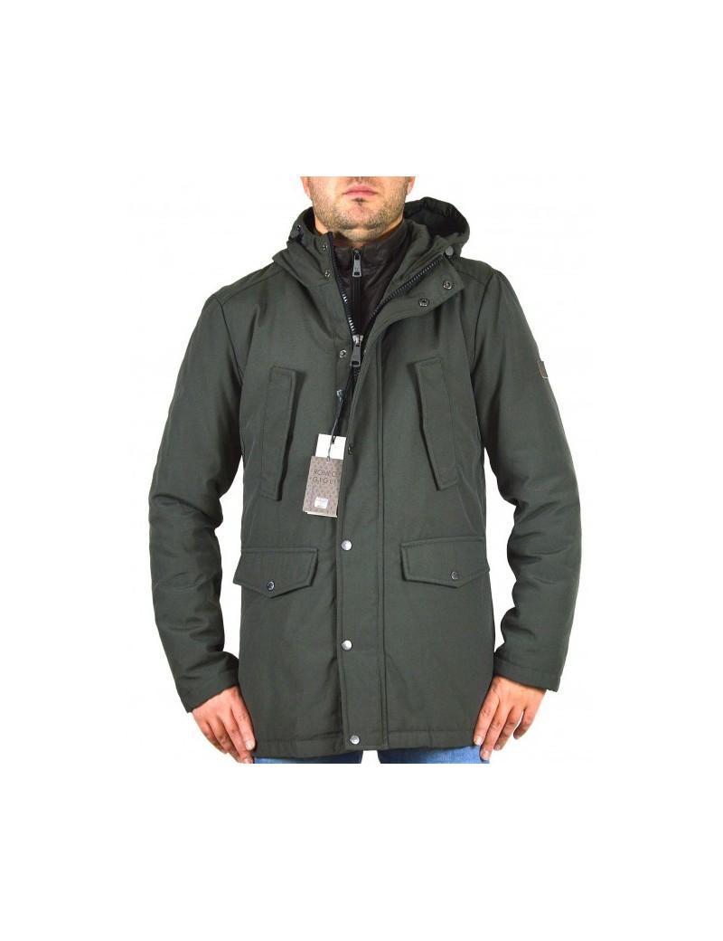online store df5bf b3a21 ROMEO GIGLI giubbino parka uomo verde invernale con paravento