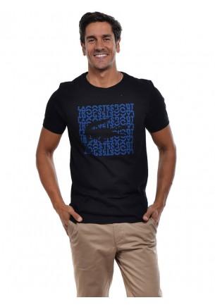 t shirt uomo lacoste manica corta nera con logo e scritte frontali blu th3382