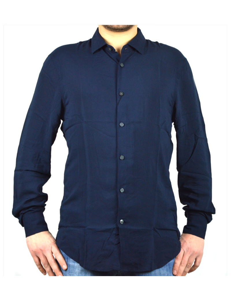 outlet 5224d 67838 AX ARMANI EXCHANGE camicia uomo blu manica lunga viscosa 3GZC03