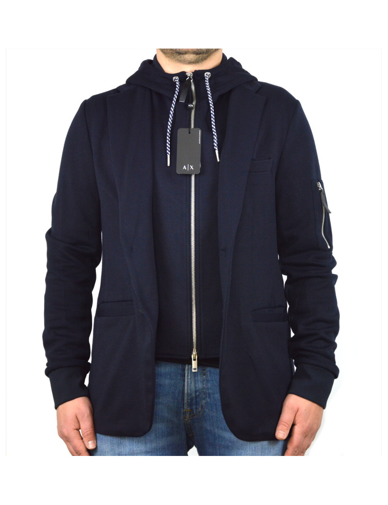low priced d1741 2794b ARMANI EXCHANGE giubbino felpa uomo blu con cappuccio zip paravento  staccabile 3GZGAG
