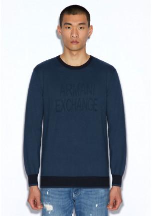 maglia uomo cotone armani exchange blu con contrasto blu scuro