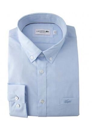 camicia uomo lacoste manica lunga cotone leggero fil a fil