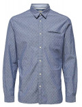 SELECTED camicia uomo grigia slim fit fantasia micro stampata