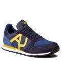 ARMANI JEANS sneakers scarpe uomo basse aj logo blu e giallo 935027