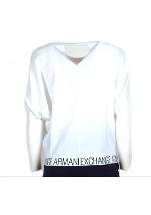 maglietta donna armani exchange t-shirt estiva bianca sportiva