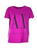 ARMANI EXCHANGE t-shirt donna maglietta estiva manica corta icon celeste 8NYTCX