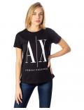 ARMANI EXCHANGE t-shirt donna maglietta estiva manica corta icon nera 8NYTCX