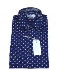MICHAEL KORS camicia uomo blu con fantasia stampata slim fit 411