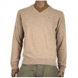 LACOSTE maglia uomo scollo a v beige in pura lana vergine woolmark