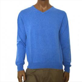 OFFICINA TESSILE maglia uomo puro cashmere cardiff scollo a v colore azzurro made in italy