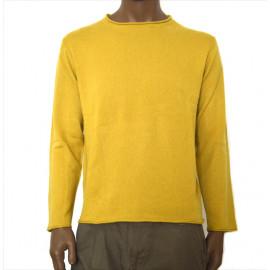 OFFICINA TESSILE maglia uomo puro cashmere cardiff collo vulcano colore giallo ocra made in italy