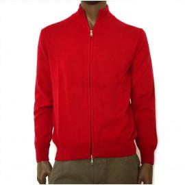 OFFICINA TESSILE maglia uomo puro cashmere cardiff aperta con zip colore rosso