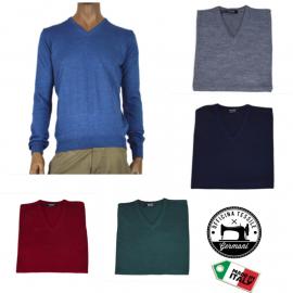 OFFICINA TESSILE maglia scollo a V uomo lana invernale made in italy M L XL 2XL 3XL