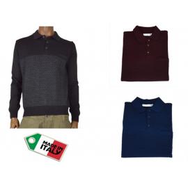 OFFICINA TESSILE maglia maglione polo in lana da uomo fantasia