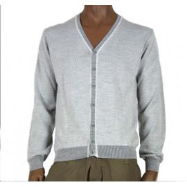 OFFICINA TESSILE maglia uomo cardigan lana con toppe grigio made in italy