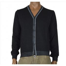 OFFICINA TESSILE cardigan uomo in misto lana nero invernale con toppe made in italy