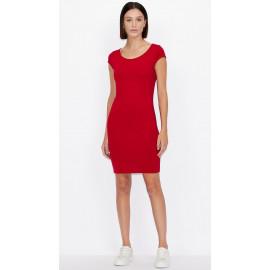 ARMANI EXCHANGE tubino donna rosso aderente slim fit elasticizzato 8NYABE