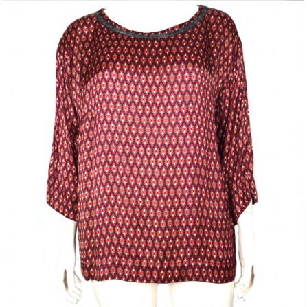 maglietta donna taglie comode rossa a fantasia  elena mirò girocollo manica lunga casacca